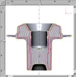 Рис. 6. Контур детали, наложенный на поковку с изображением течения (слева) и с распределением накопленной степени деформации