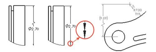 Рис. 10. Размеры укороченных диаметров и радиусов