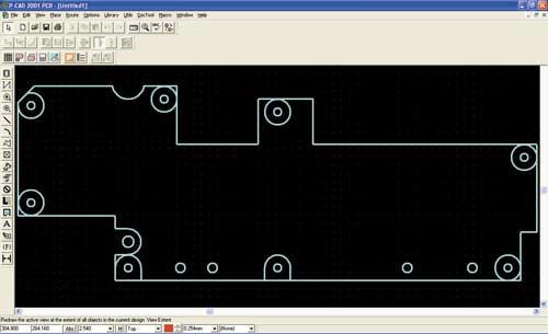 Рис. 2. Контур ПП, переданный в P-CAD PCB.