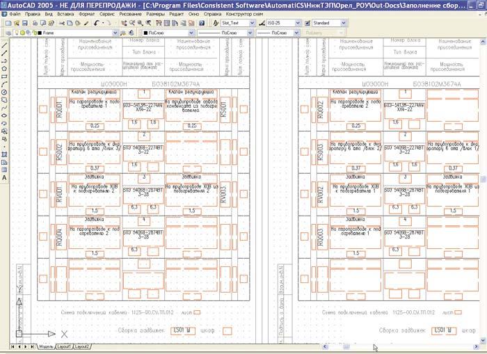Схема заполнения шкафов сборки