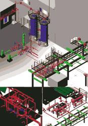 """Проект реконструкции установки Л-24/6.  Пример чертежа, выполненного в модуле  """"Трубопроводы """" ."""