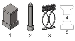 Рис. 5. Семейства для построения копии ограды на набережной Москвы-реки: 1 — стойка ограждения, 2 — заполняющая стойка, 3 — балясина-панель, 4 — профиль верхней направляющей, 5 — профиль нижней направляющей