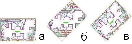 Рис. 16. Поворот видового экрана: а — исходное положение экрана, б — VPROTATEASSOC = 0; в — VPROTATEASSOC = 1