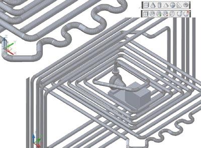 Рис. 7. Результат моделирования в среде AutoCAD 2010 трубопроводных сетей