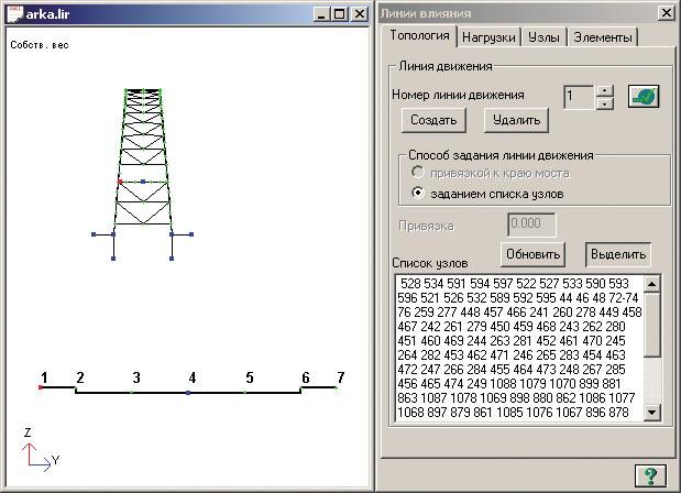 Схема расположения линий