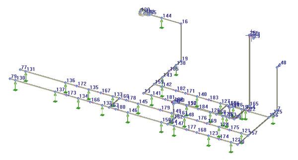 Расчетная схема трубопровода в