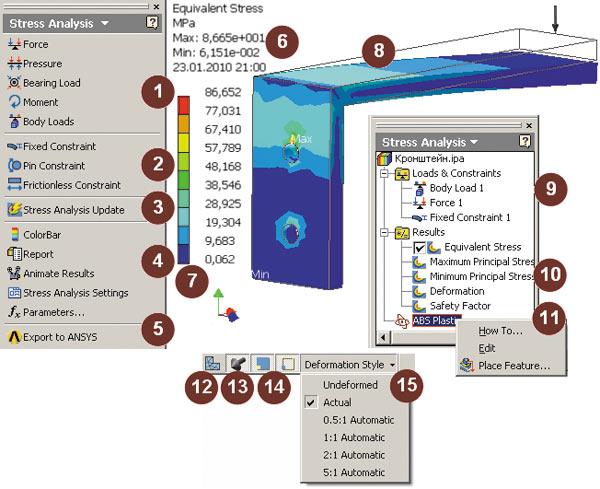 Рис. 2. Среда прочностного анализа Autodesk Inventor