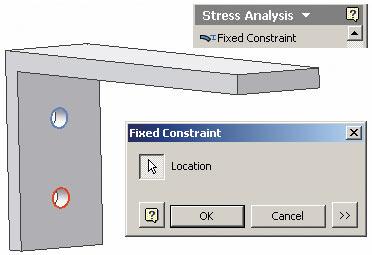 Рис. 7. Закрепление модели детали для последующего нагружения