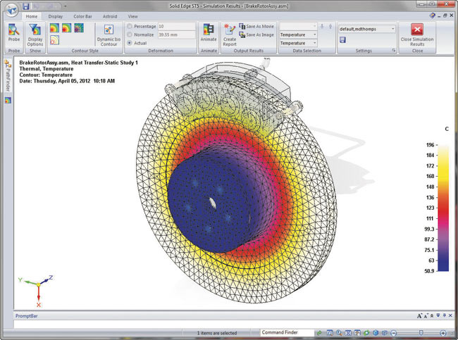 Версия Solid Edge Simulation ST5 позволяет рассчитывать тепловые эффекты и теплопередачу в конструкциях и учитывать при этом источники тепла в условиях стационарного теплообмена