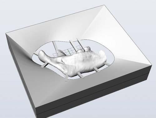 Рис. 6. Положение крепежных перемычек и наклонных поверхностей