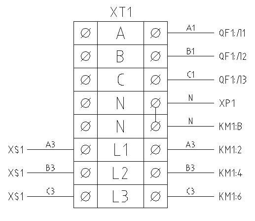 Клеммник на схеме соединений.