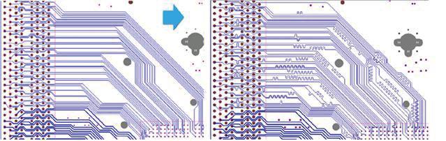 Рис. 2. Автоматическая подстройка длины проводников до и после применения нового инструмента Auto-interactive Delay Tuning