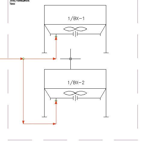 Рис. 10. Отрисовка трубопроводов с автоматическим указанием направления потока, вставки штуцеров и точки ветвления