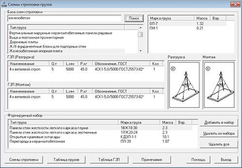 Рис. 9. Формирование набора схем строповки.