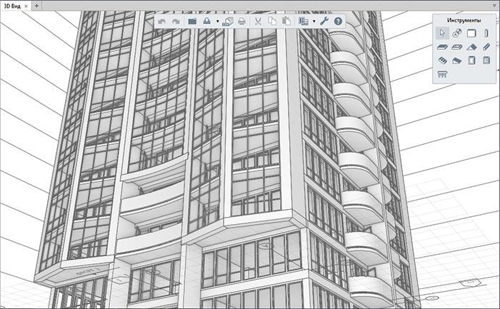 Рис. 1. Пример здания, созданного в новой 3D CAD-системе