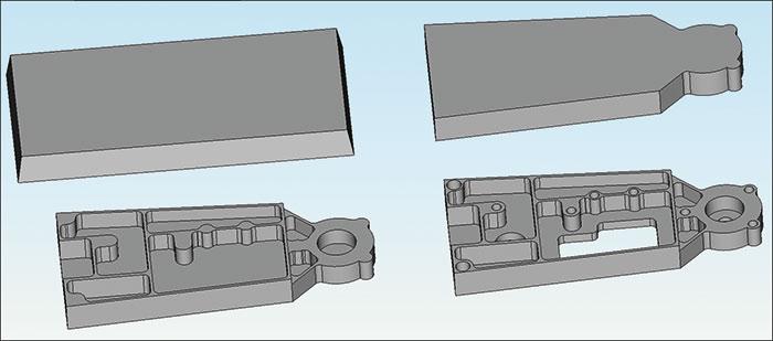 Рис. 2. Прямое редактирование исходной модели для получения технологических моделей наразных этапах изготовления